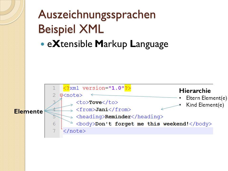 Auszeichnungssprachen Beispiel WPF (Windows Presentation Foundation)