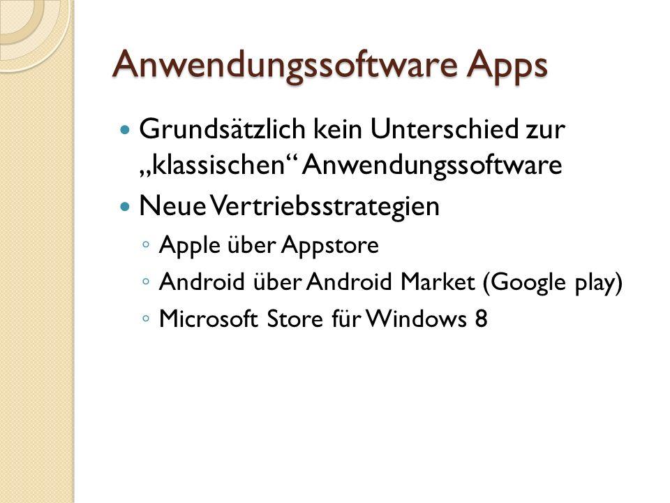 Anwendungssoftware Apps BetriebssystemKontrolleFreePay Mac OSstrengJa AndroidoffenJa Windows 8strengjaJa Quelle: http://www.pcwelt.de/ratgeber/Sicherheit-von- Google-Android-1129259.html