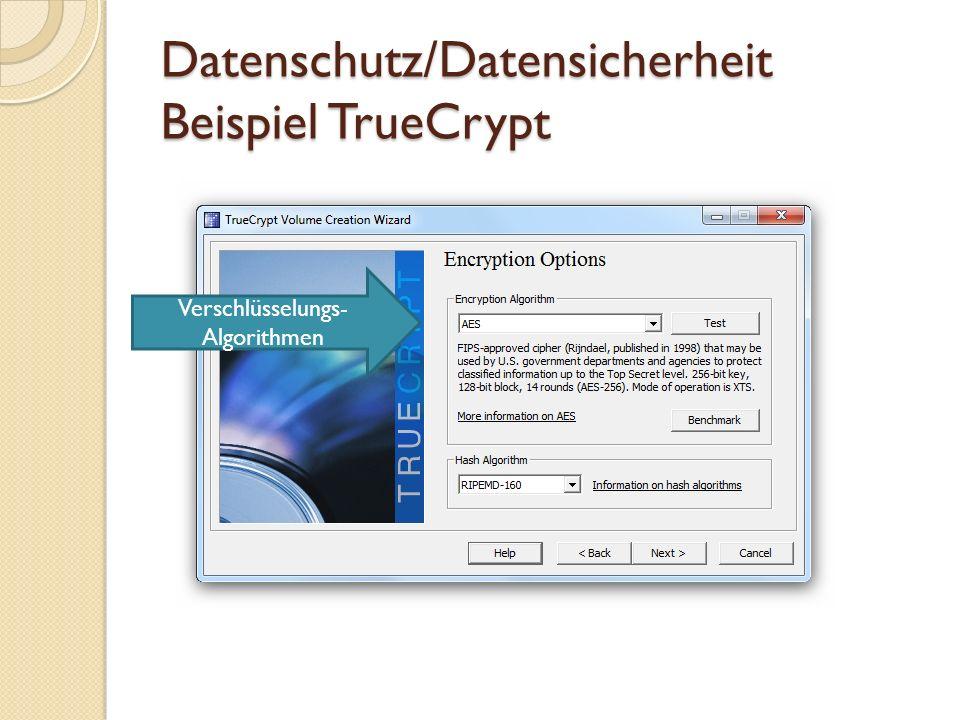 Datenschutz/Datensicherheit Beispiel TrueCrypt Passwortrichtlinien