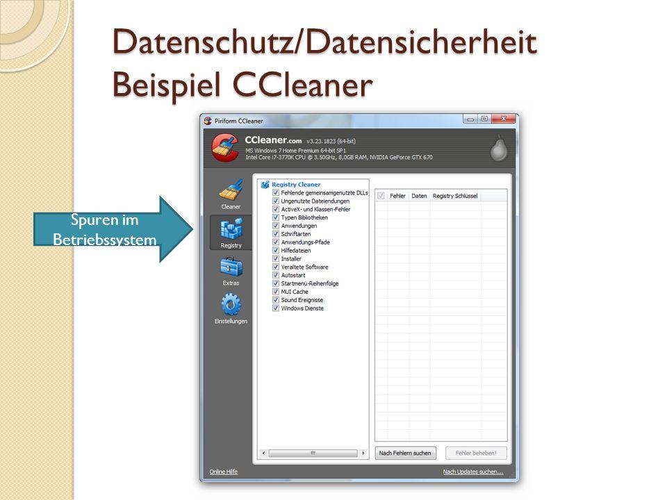 Datenschutz/Datensicherheit Beispiel CCleaner Sicheres Löschen