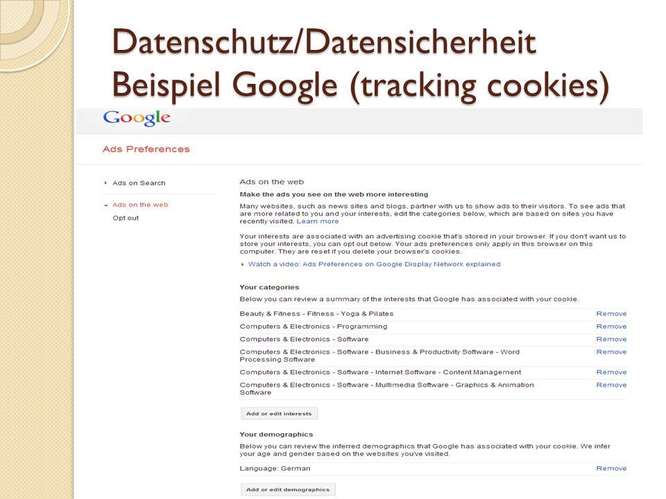 Datenschutz/Datensicherheit Beispiel Google