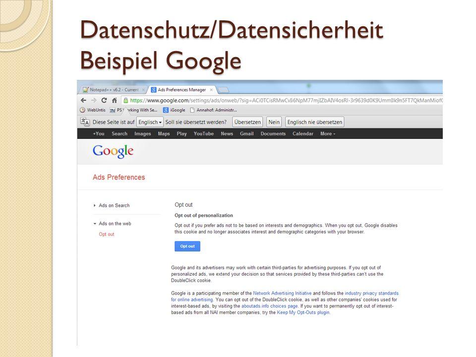 Datenschutz/Datensicherheit Auf einem Server im Netz Genaue Auswahl der Daten, die von mir dort gespeichert werden Zum Beispiel bei Facebook Verschlüsseln der Daten am Server Verschlüsselte Übertragung