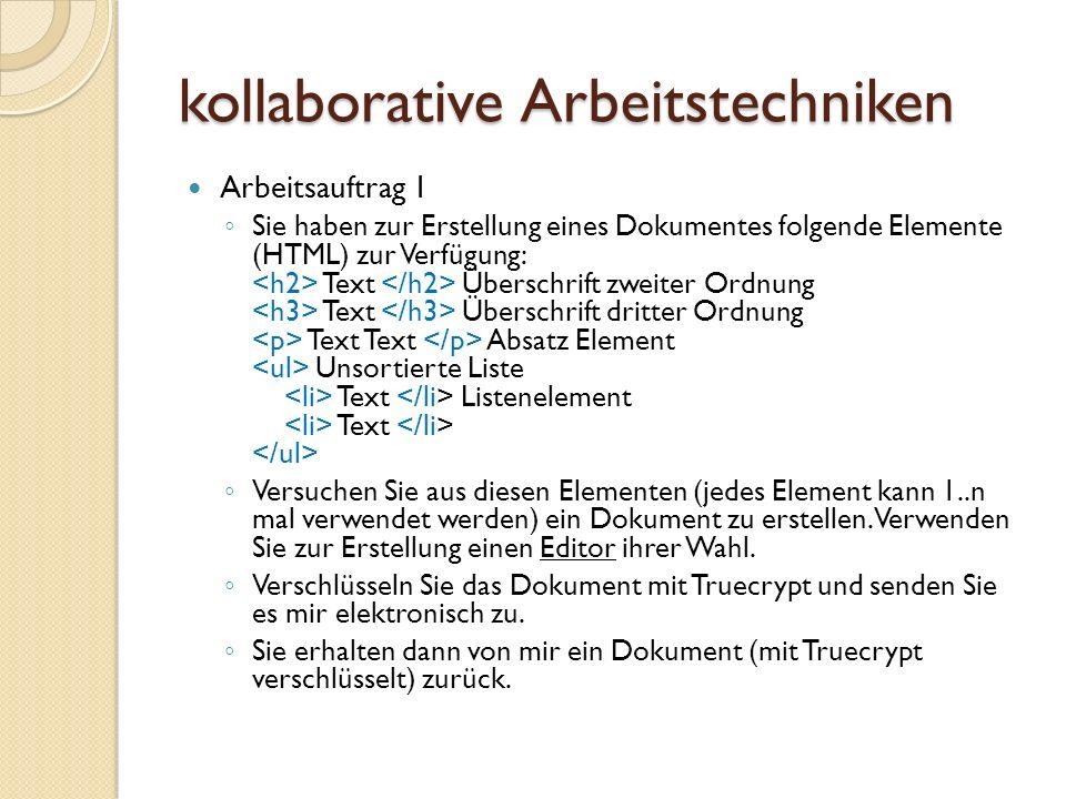 kollaborative Arbeitstechniken Arbeitsauftrag II Öffnen Sie das entschlüsselte HTML- Dokument mit Microsoft-Word.