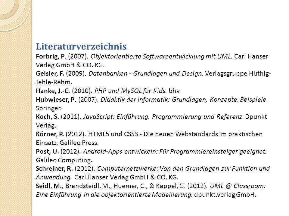Literaturverzeichnis Forbrig, P. (2007). Objektorientierte Softwareentwicklung mit UML. Carl Hanser Verlag GmbH & CO. KG. Geisler, F. (2009). Datenban