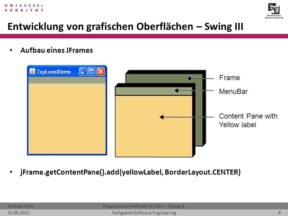 Programmiermethodik SS 2011 – Übung 6Andreas Koch 10.06.20118Fachgebiet Software Engineering Entwicklung von grafischen Oberflächen – Swing III Aufbau eines JFrames jFrame.getContentPane().add(yellowLabel, BorderLayout.CENTER) Frame MenuBar Content Pane with Yellow label