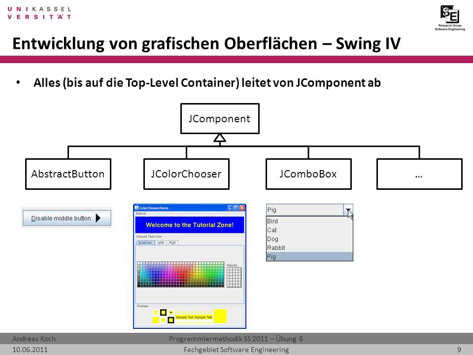 Programmiermethodik SS 2011 – Übung 6Andreas Koch 10.06.20119Fachgebiet Software Engineering Entwicklung von grafischen Oberflächen – Swing IV Alles (bis auf die Top-Level Container) leitet von JComponent ab JComponent AbstractButtonJComboBoxJColorChooser…