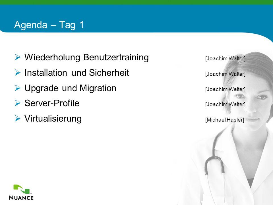 2 Agenda – Tag 1 Wiederholung Benutzertraining [Joachim Walter] Installation und Sicherheit [Joachim Walter] Upgrade und Migration [Joachim Walter] Se