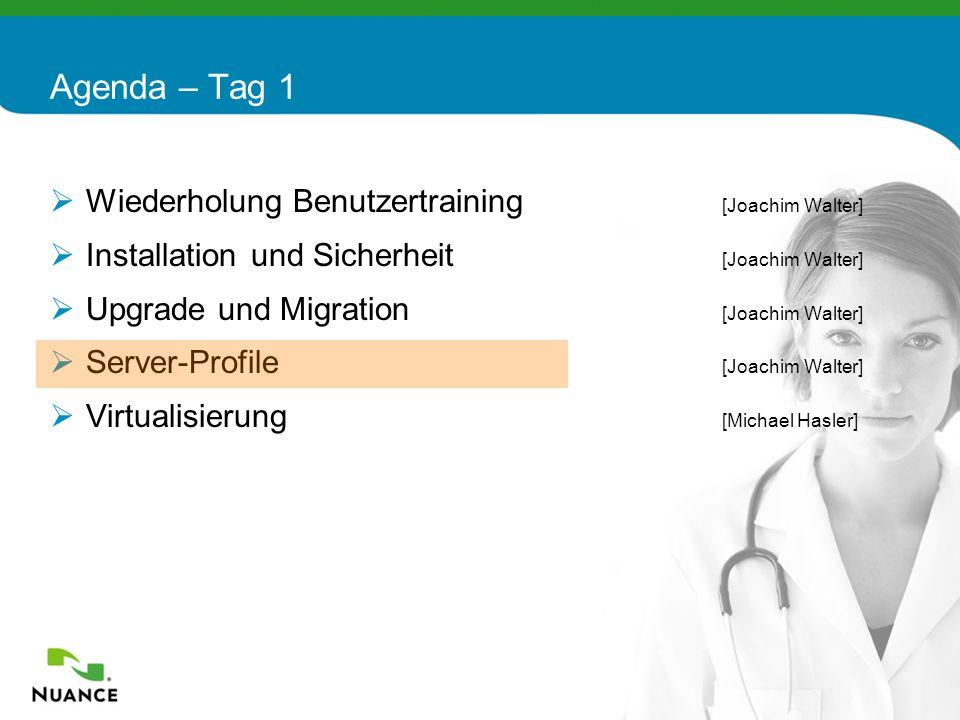 24 Wiederholung Benutzertraining [Joachim Walter] Installation und Sicherheit [Joachim Walter] Upgrade und Migration [Joachim Walter] Server-Profile [