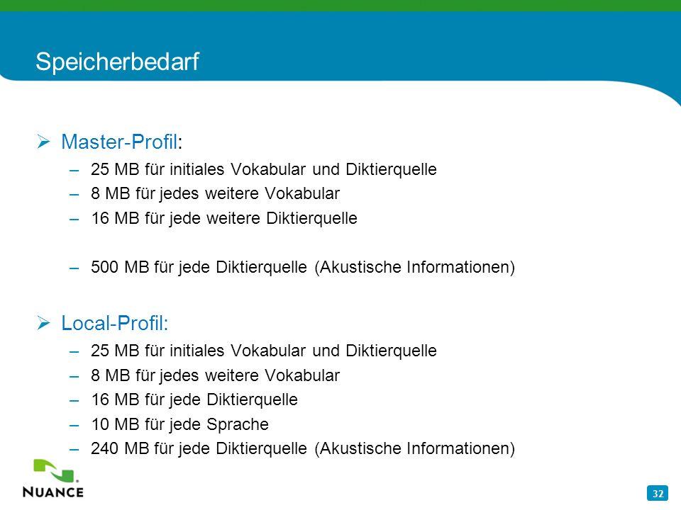 32 Speicherbedarf Master-Profil: –25 MB für initiales Vokabular und Diktierquelle –8 MB für jedes weitere Vokabular –16 MB für jede weitere Diktierque