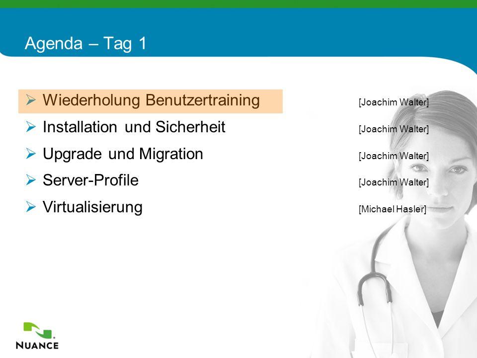 4 Wiederholung Benutzertraining [Joachim Walter] Installation und Sicherheit [Joachim Walter] Upgrade und Migration [Joachim Walter] Server-Profile [J