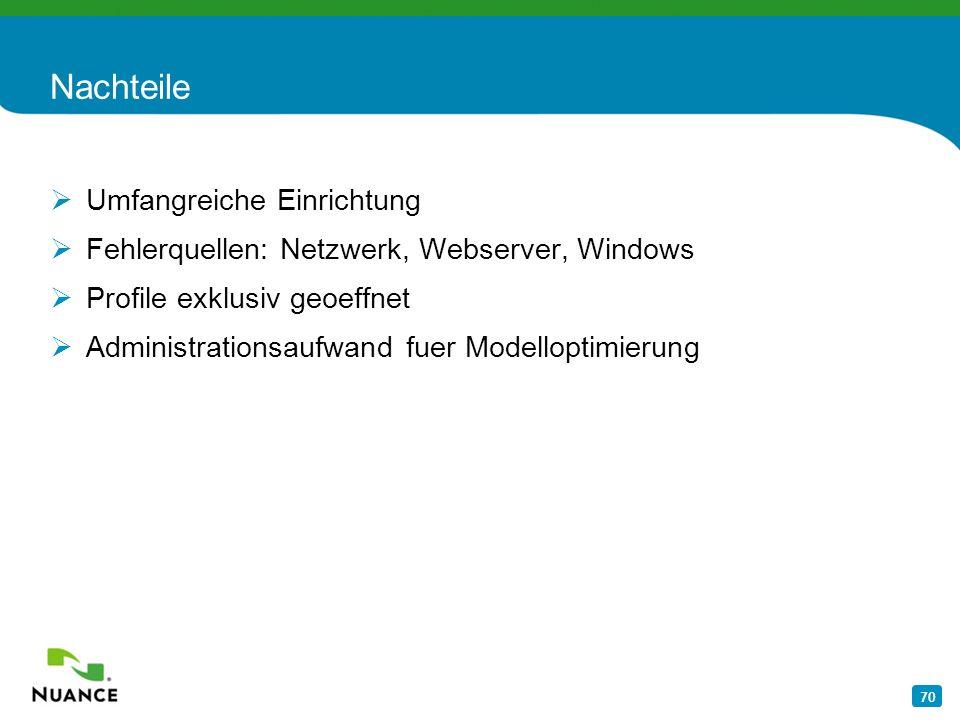 70 Nachteile Umfangreiche Einrichtung Fehlerquellen: Netzwerk, Webserver, Windows Profile exklusiv geoeffnet Administrationsaufwand fuer Modelloptimie