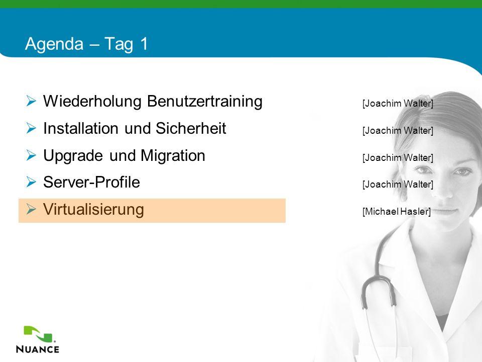 72 Wiederholung Benutzertraining [Joachim Walter] Installation und Sicherheit [Joachim Walter] Upgrade und Migration [Joachim Walter] Server-Profile [