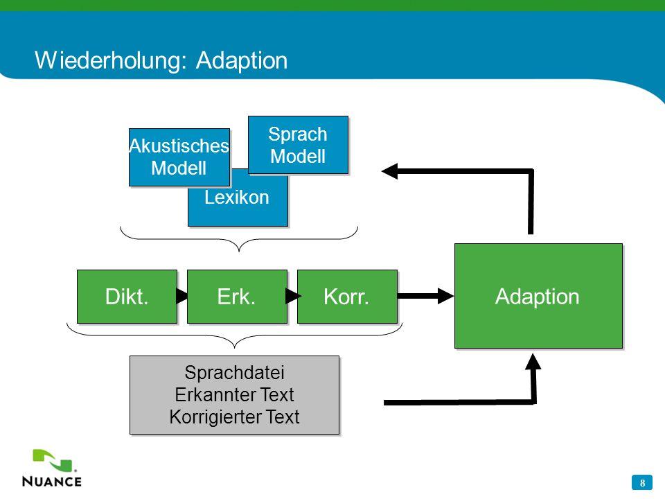 8 Wiederholung: Adaption Korr. Sprachdatei Erkannter Text Korrigierter Text Dikt. Erk. Adaption Lexikon Sprach Modell Sprach Modell Akustisches Modell