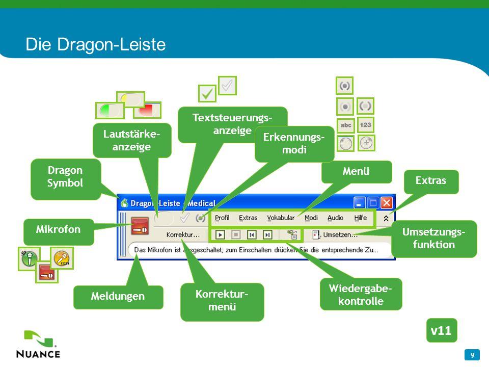 9 Die Dragon-Leiste Dragon Symbol Menü Extras Meldungen Korrektur- menü Wiedergabe- kontrolle Umsetzungs- funktion v11 Mikrofon Textsteuerungs- anzeig