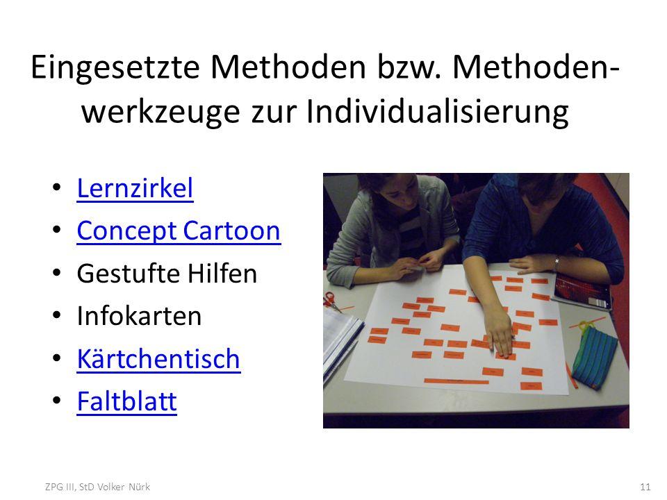 Eingesetzte Methoden bzw. Methoden- werkzeuge zur Individualisierung Lernzirkel Concept Cartoon Gestufte Hilfen Infokarten Kärtchentisch Faltblatt ZPG