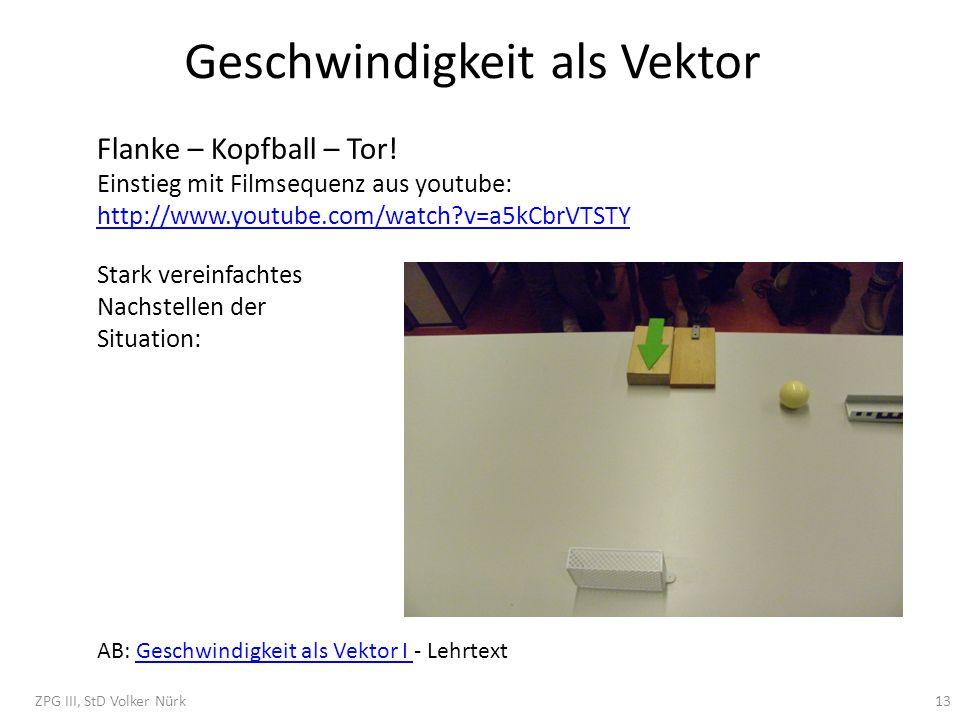 Geschwindigkeit als Vektor Flanke – Kopfball – Tor! Einstieg mit Filmsequenz aus youtube: http://www.youtube.com/watch?v=a5kCbrVTSTY http://www.youtub