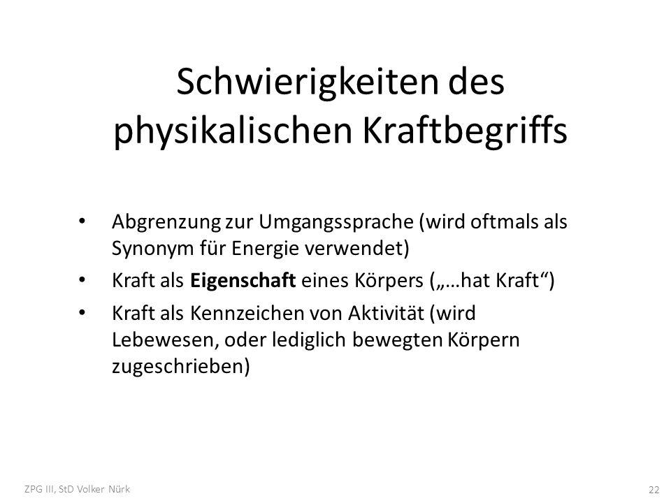 Schwierigkeiten des physikalischen Kraftbegriffs Abgrenzung zur Umgangssprache (wird oftmals als Synonym für Energie verwendet) Kraft als Eigenschaft