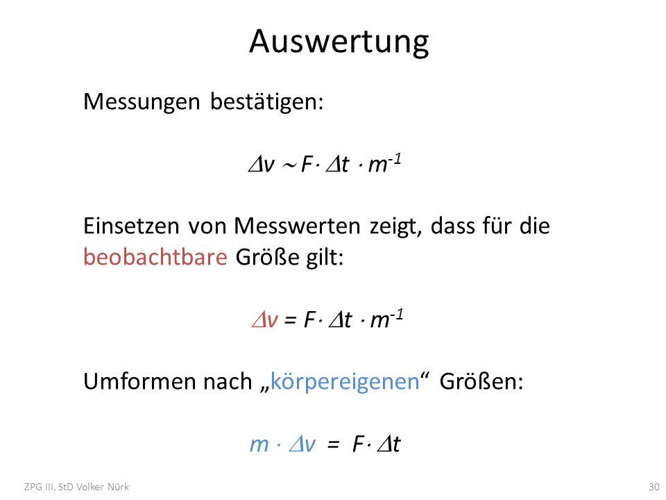 Auswertung Messungen bestätigen: v F t m -1 Einsetzen von Messwerten zeigt, dass für die beobachtbare Größe gilt: v = F t m -1 Umformen nach körpereig