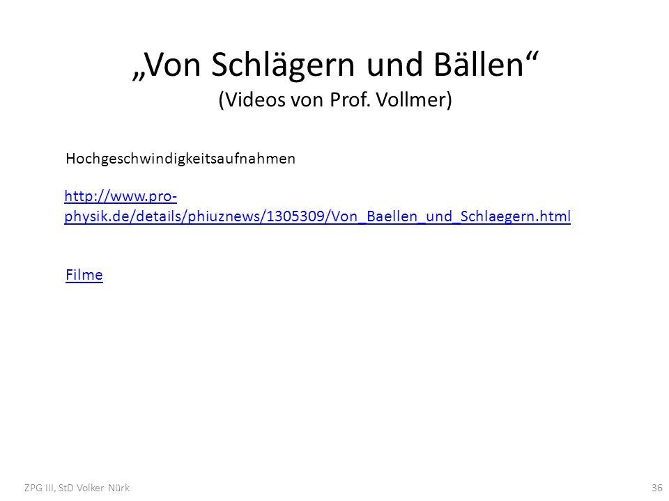 Von Schlägern und Bällen (Videos von Prof. Vollmer) Hochgeschwindigkeitsaufnahmen http://www.pro- physik.de/details/phiuznews/1305309/Von_Baellen_und_