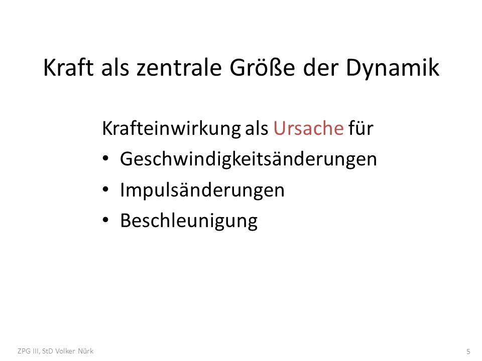Kraft als zentrale Größe der Dynamik Krafteinwirkung als Ursache für Geschwindigkeitsänderungen Impulsänderungen Beschleunigung ZPG III, StD Volker Nü