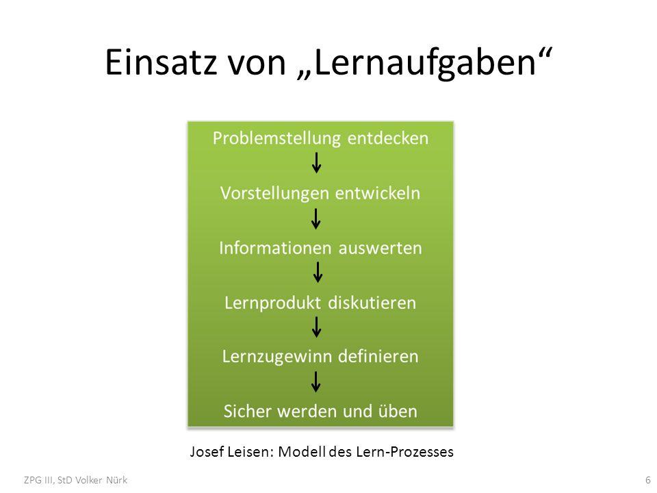 Einsatz von Lernaufgaben Josef Leisen: Modell des Lern-Prozesses ZPG III, StD Volker Nürk6