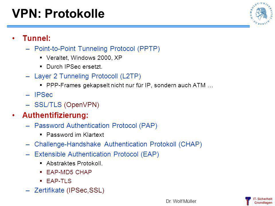 IT-Sicherheit Grundlagen VPN: Protokolle Tunnel: –Point-to-Point Tunneling Protocol (PPTP) Veraltet, Windows 2000, XP Durch IPSec ersetzt. –Layer 2 Tu