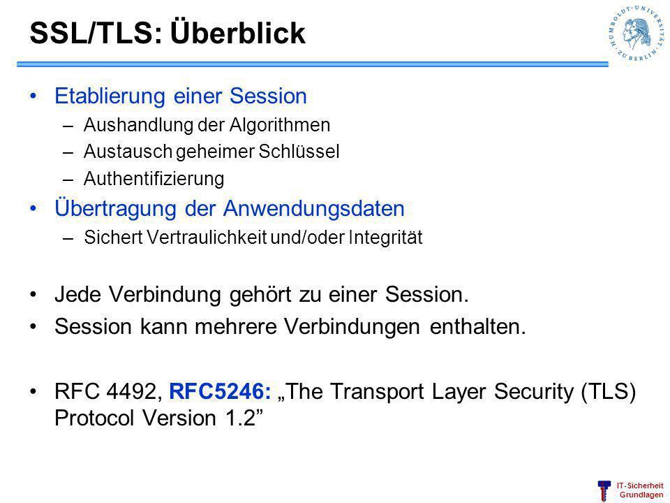 IT-Sicherheit Grundlagen SSL/TLS: Überblick Etablierung einer Session –Aushandlung der Algorithmen –Austausch geheimer Schlüssel –Authentifizierung Üb