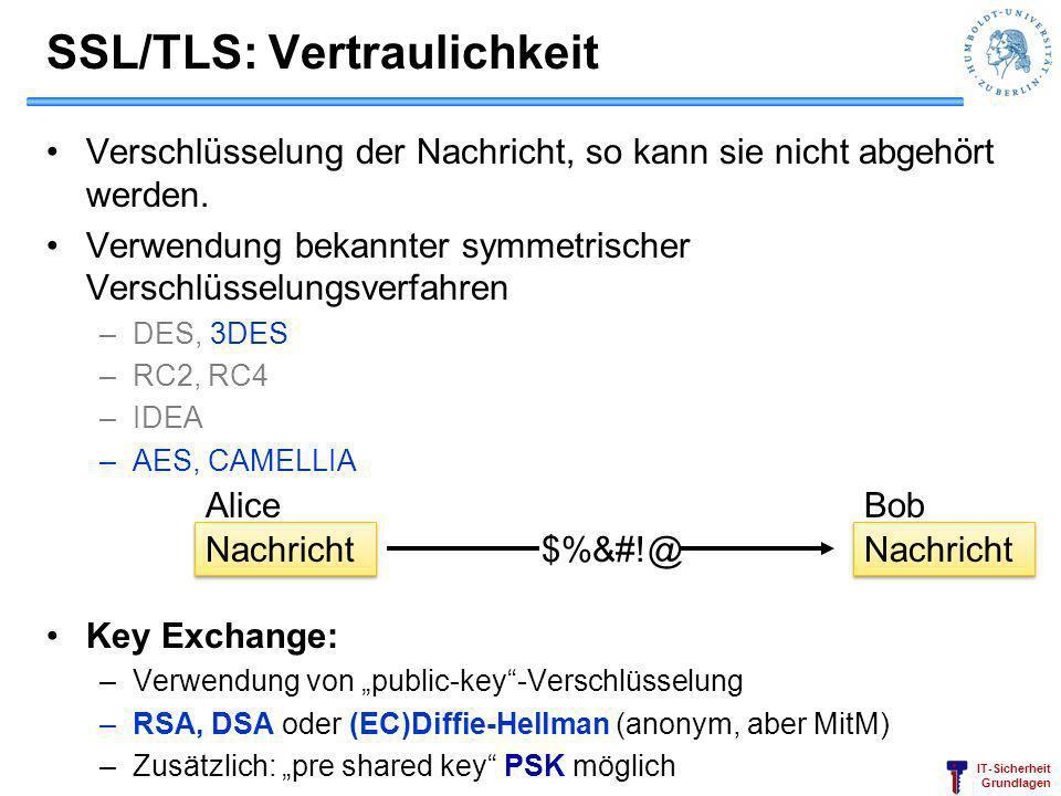 IT-Sicherheit Grundlagen SSL/TLS: Vertraulichkeit Verschlüsselung der Nachricht, so kann sie nicht abgehört werden. Verwendung bekannter symmetrischer