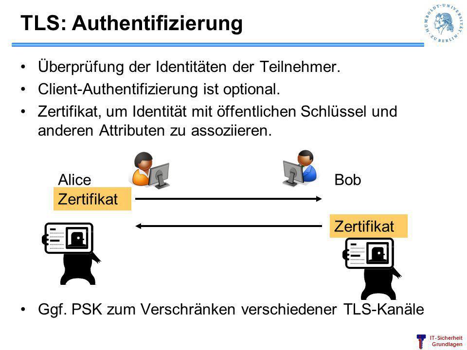 IT-Sicherheit Grundlagen TLS: Authentifizierung Überprüfung der Identitäten der Teilnehmer. Client-Authentifizierung ist optional. Zertifikat, um Iden
