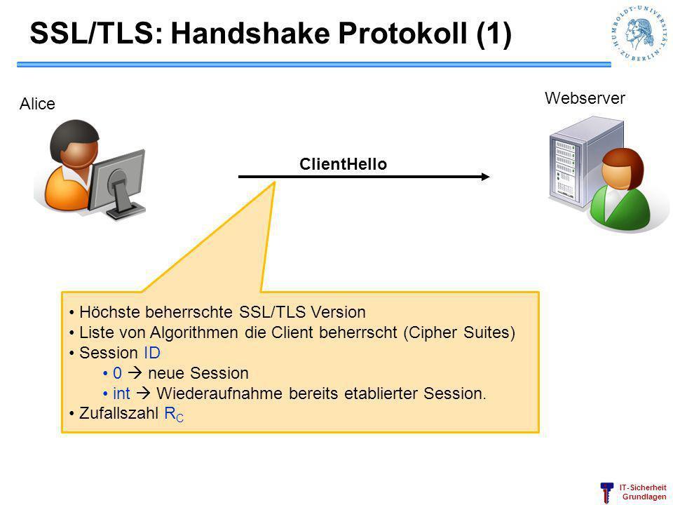 IT-Sicherheit Grundlagen ClientHello SSL/TLS: Handshake Protokoll (1) Höchste beherrschte SSL/TLS Version Liste von Algorithmen die Client beherrscht