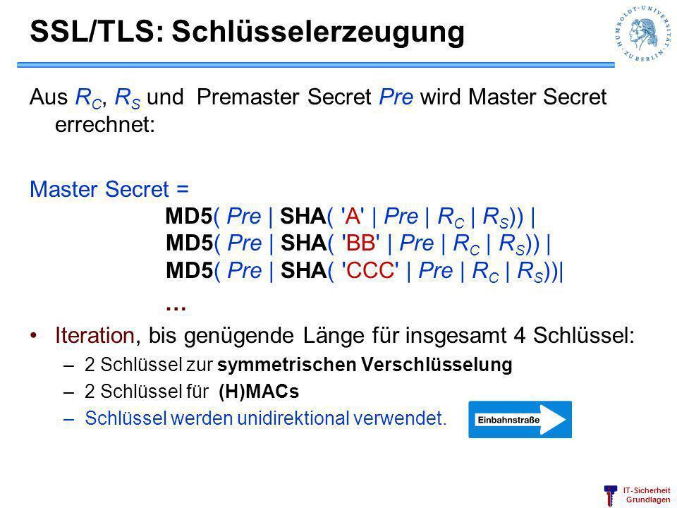 IT-Sicherheit Grundlagen SSL/TLS: Schlüsselerzeugung Aus R C, R S und Premaster Secret Pre wird Master Secret errechnet: Master Secret = MD5( Pre | SH