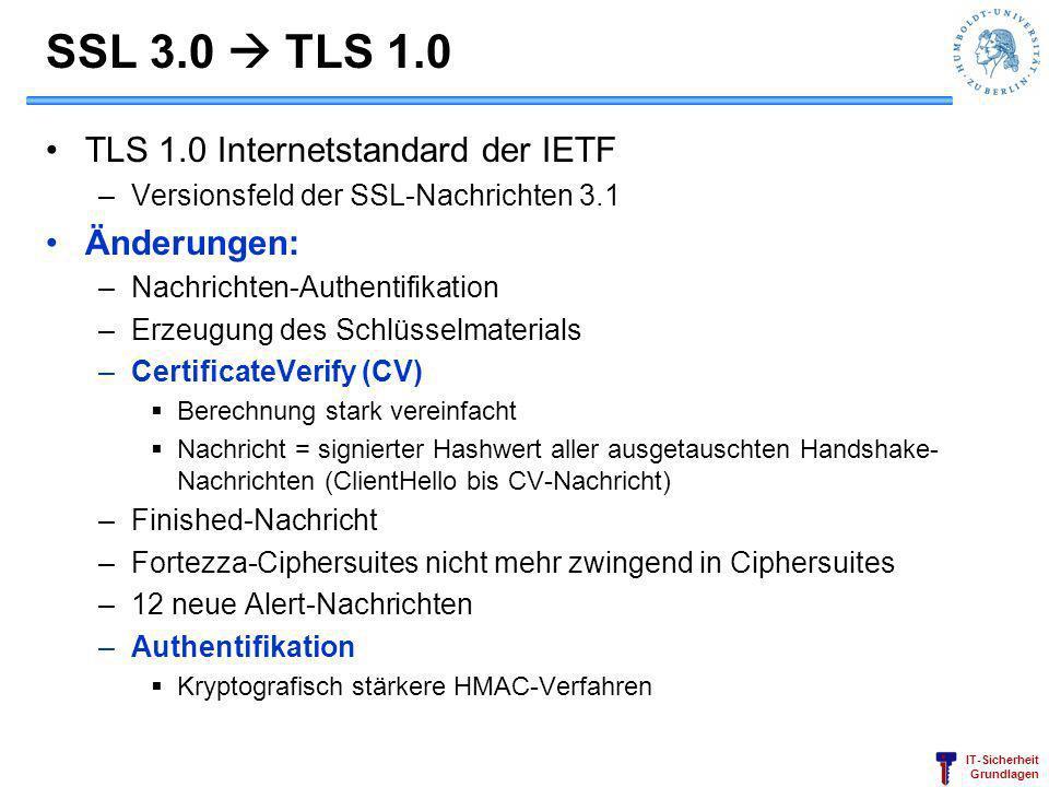 IT-Sicherheit Grundlagen SSL 3.0 TLS 1.0 TLS 1.0 Internetstandard der IETF –Versionsfeld der SSL-Nachrichten 3.1 Änderungen: –Nachrichten-Authentifika