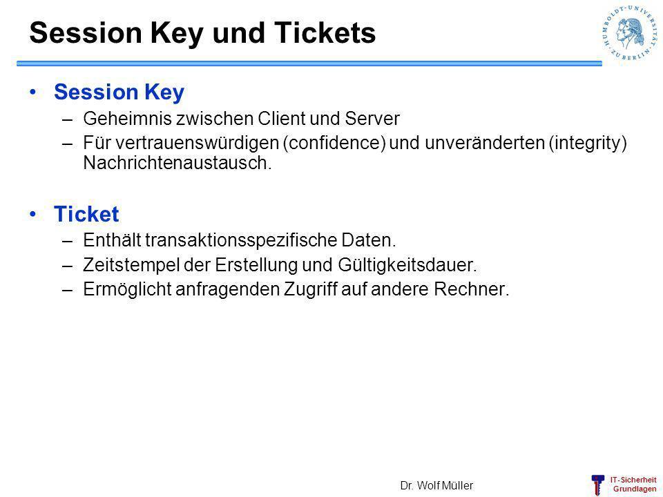IT-Sicherheit Grundlagen Session Key und Tickets Session Key –Geheimnis zwischen Client und Server –Für vertrauenswürdigen (confidence) und unveränder