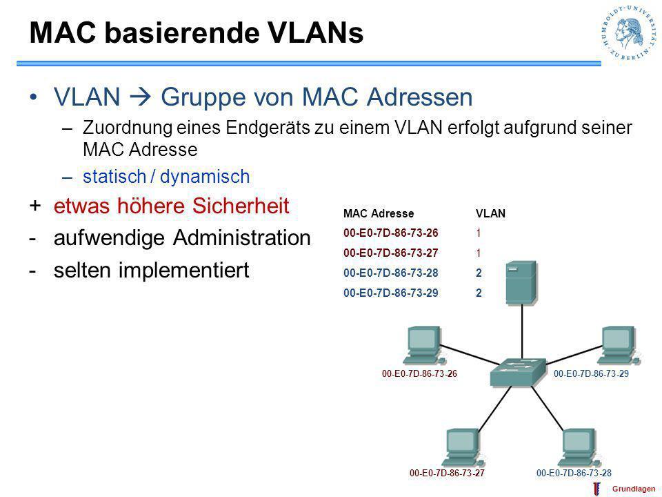 IT-Sicherheit Grundlagen VLAN: Policy basiert VLAN = Policy (regelbasiert) –Layer 3 Protokoll des Endgeräts –Layer 3 Netzadresse des Endgeräts Dynamisch +flexibel +Endgerät in mehreren VLANs möglich -je nach Regel –einfache –bis sehr schwierige Administration 192.168.1.1 192.168.1.2192.168.2.1 192.168.2.2 Subnetz VLAN 192.168.1.0 1 192.168.2.0 2 Subnetzmaske 255.255.255.0