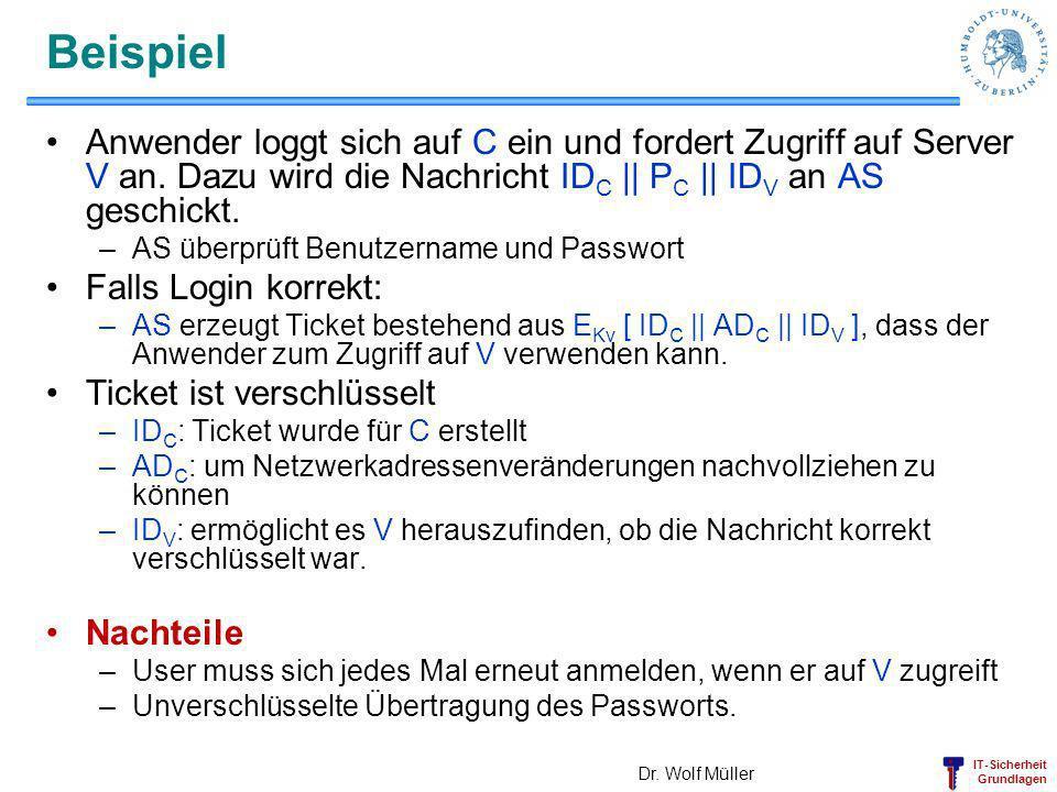 IT-Sicherheit Grundlagen Beispiel Anwender loggt sich auf C ein und fordert Zugriff auf Server V an. Dazu wird die Nachricht ID C || P C || ID V an AS