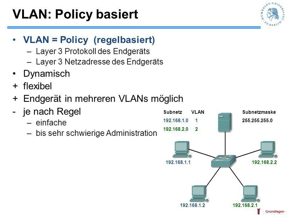 IT-Sicherheit Grundlagen VLAN: Policy basiert VLAN = Policy (regelbasiert) –Layer 3 Protokoll des Endgeräts –Layer 3 Netzadresse des Endgeräts Dynamis