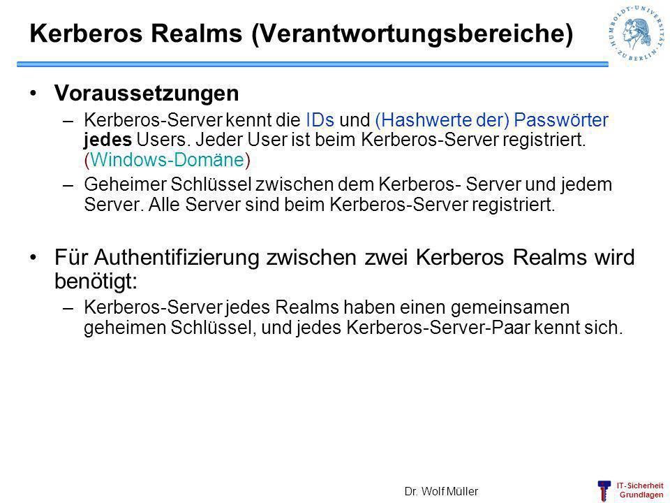 IT-Sicherheit Grundlagen Kerberos Realms (Verantwortungsbereiche) Voraussetzungen –Kerberos-Server kennt die IDs und (Hashwerte der) Passwörter jedes