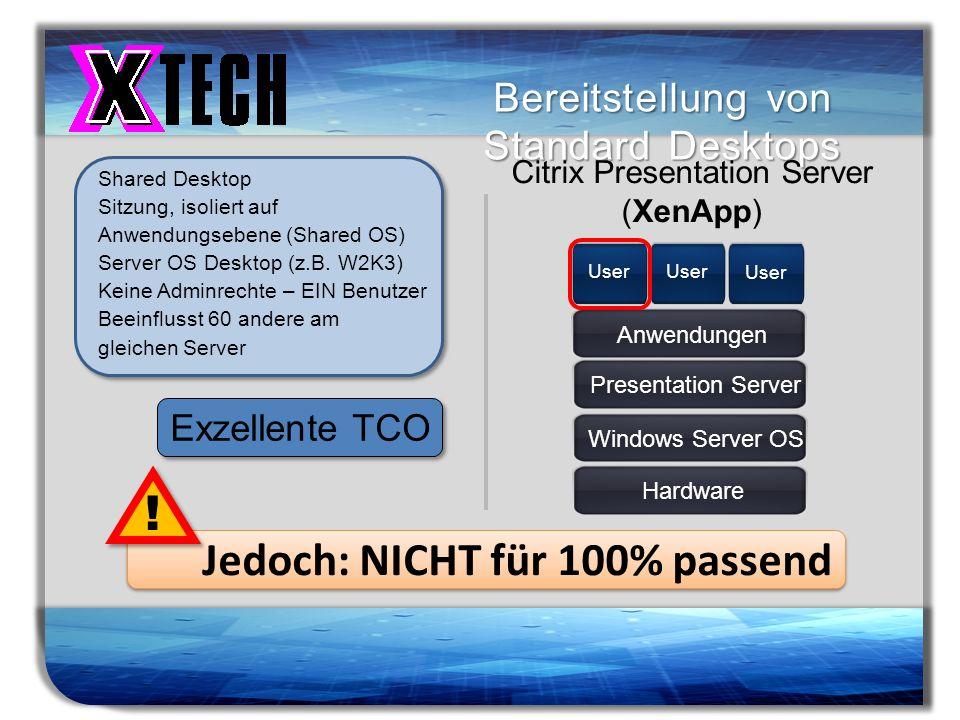 Titelmasterformat durch Klicken bearbeiten Bereitstellung von Standard Desktops Shared Desktop Sitzung, isoliert auf Anwendungsebene (Shared OS) Serve