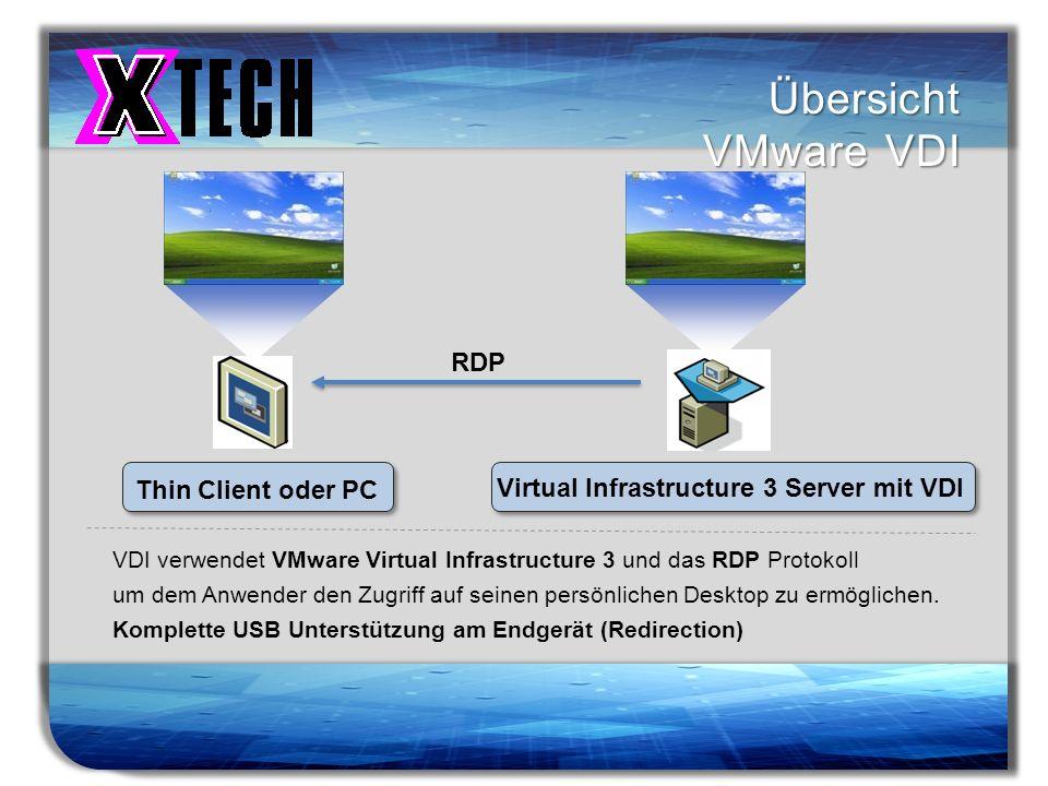 Titelmasterformat durch Klicken bearbeiten Übersicht VMware VDI VDI verwendet VMware Virtual Infrastructure 3 und das RDP Protokoll um dem Anwender de