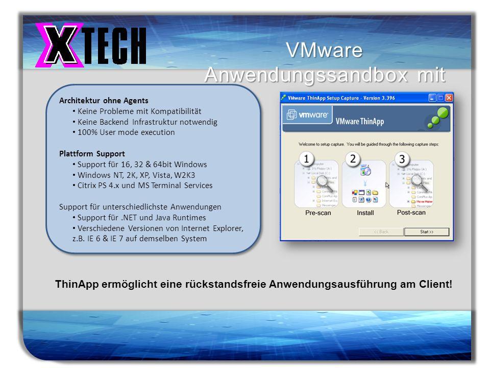 Titelmasterformat durch Klicken bearbeiten VMware Anwendungssandbox mit ThinApp ThinApp ermöglicht eine rückstandsfreie Anwendungsausführung am Client