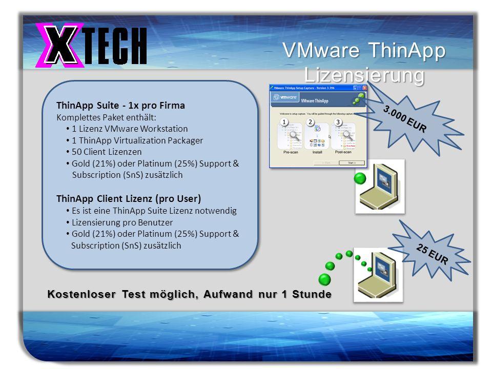 Titelmasterformat durch Klicken bearbeiten VMware ThinApp Lizensierung 3.000 EUR 25 EUR Kostenloser Test möglich, Aufwand nur 1 Stunde ThinApp Suite -