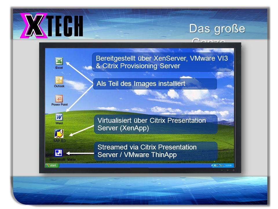Titelmasterformat durch Klicken bearbeiten Das große Ganze … Als Teil des Images installiert Bereitgestellt über XenServer, VMware VI3 & Citrix Provis