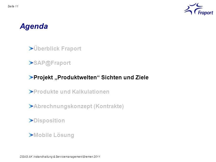 Agenda Seite 11 Überblick Fraport SAP@Fraport Projekt Produktwelten Sichten und Ziele Produkte und Kalkulationen Abrechnungskonzept (Kontrakte) Dispos