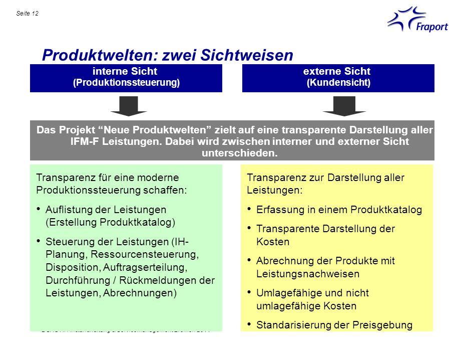 Produktwelten: zwei Sichtweisen Seite 12 DSAG AK Instandhaltung & Servicemanagement Bremen 2011 Das Projekt Neue Produktwelten zielt auf eine transpar