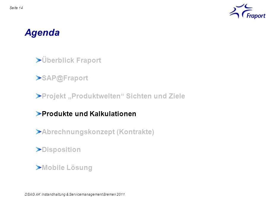 Agenda Seite 14 Überblick Fraport SAP@Fraport Projekt Produktwelten Sichten und Ziele Produkte und Kalkulationen Abrechnungskonzept (Kontrakte) Dispos