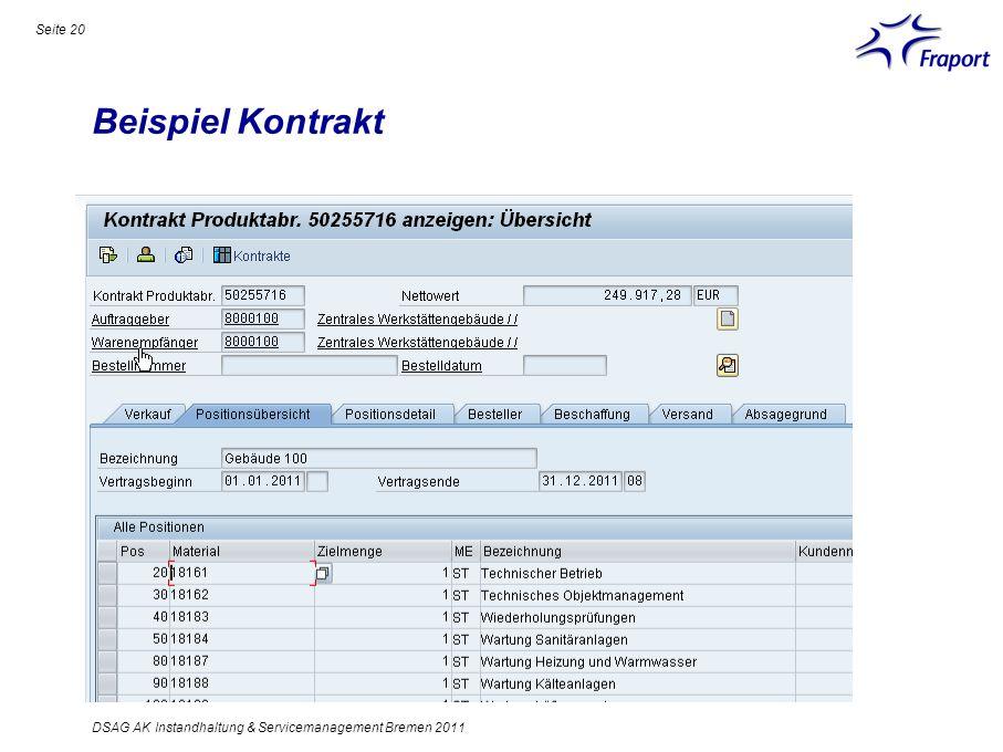 Beispiel Kontrakt Seite 20 DSAG AK Instandhaltung & Servicemanagement Bremen 2011