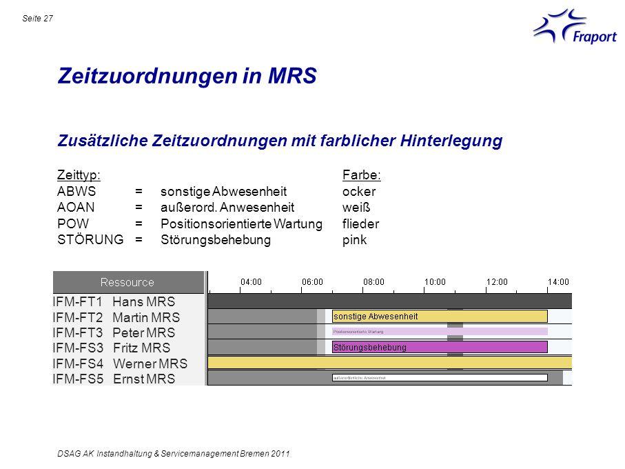 Zeitzuordnungen in MRS Seite 27 DSAG AK Instandhaltung & Servicemanagement Bremen 2011 Zusätzliche Zeitzuordnungen mit farblicher Hinterlegung Zeittyp