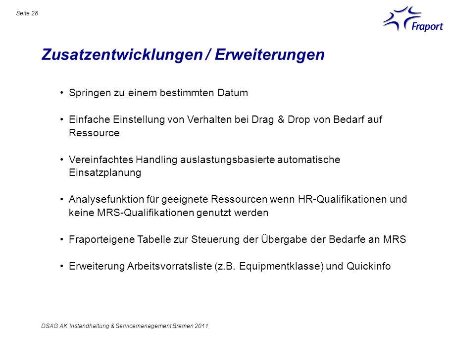 Zusatzentwicklungen / Erweiterungen Seite 28 DSAG AK Instandhaltung & Servicemanagement Bremen 2011 Springen zu einem bestimmten Datum Einfache Einste