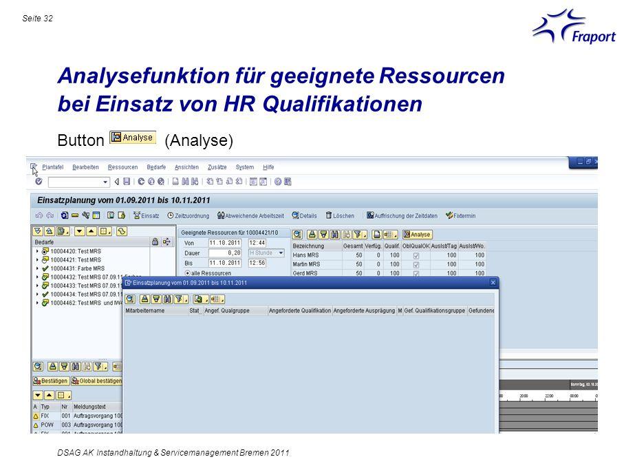 Analysefunktion für geeignete Ressourcen bei Einsatz von HR Qualifikationen Seite 32 DSAG AK Instandhaltung & Servicemanagement Bremen 2011 Button (An