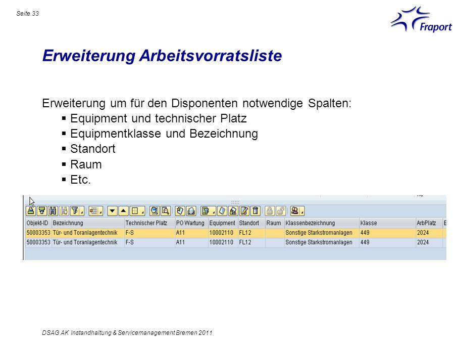 Erweiterung Arbeitsvorratsliste Seite 33 DSAG AK Instandhaltung & Servicemanagement Bremen 2011 Erweiterung um für den Disponenten notwendige Spalten: